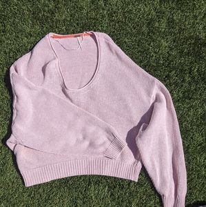 fp oversized pink drapey sweater